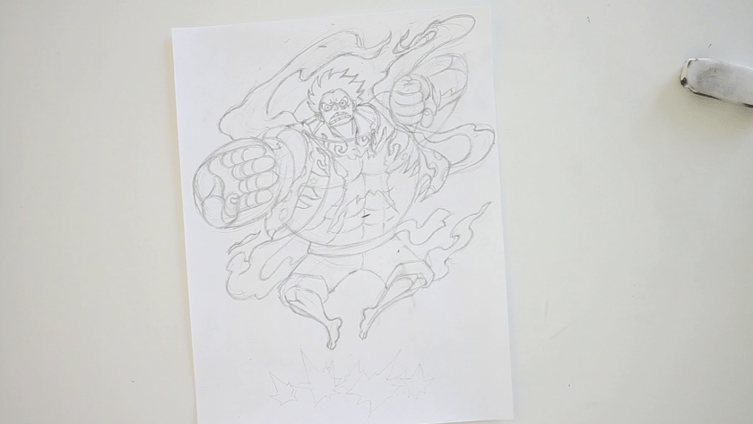 How to Draw Gear Fourth Bounce Man Luffy - Step 3 - Refined Pencil Drawing