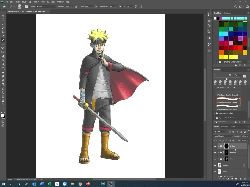 How to Draw Karma Boruto - Step 12 - Color in Rimlight