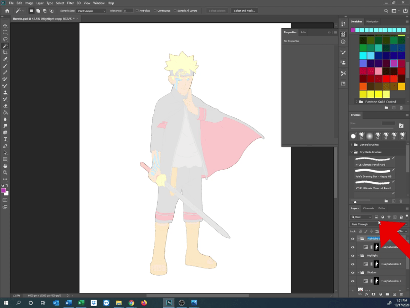 How to Draw Karma Boruto - Step 9A - Rough in Highlight