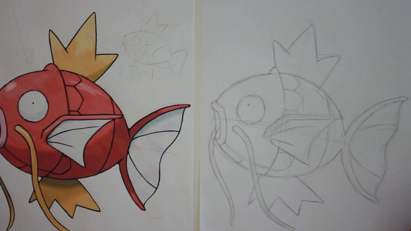 How to Draw Magikarp - Step 2 - Refined Pencil Drawing