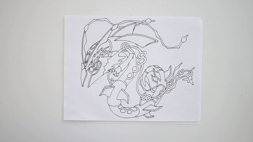 How to Draw Mega Rayquaza - Step 3 - Trace Pencil Lines with Marker