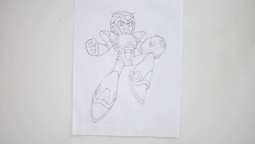 How to Draw Megaman X - Step 4 - Refined Pencil Drawing