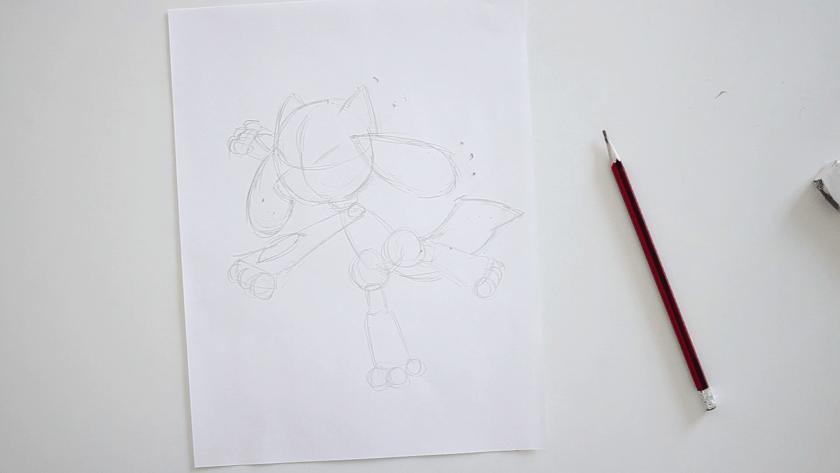 How to Draw Riolu - Step 1 - Basic Shape and Form