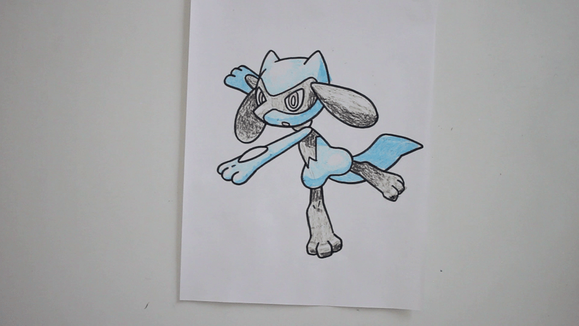 How to Draw Riolu - Step 5 - Color in Shadow