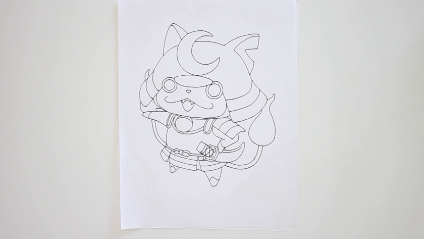 How to Draw Shogunyan - Step 4 - Trace Pencil Lines with marker