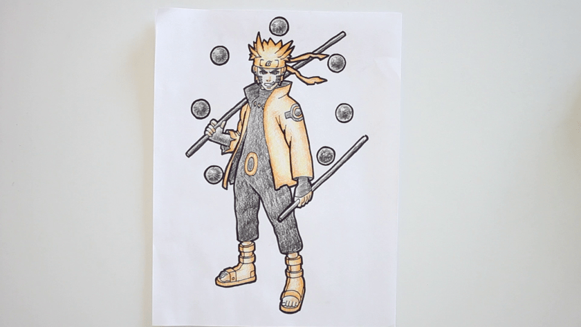 How to Draw Six Paths Sage Mode Naruto - Step 7 - Thicken Profile Lines