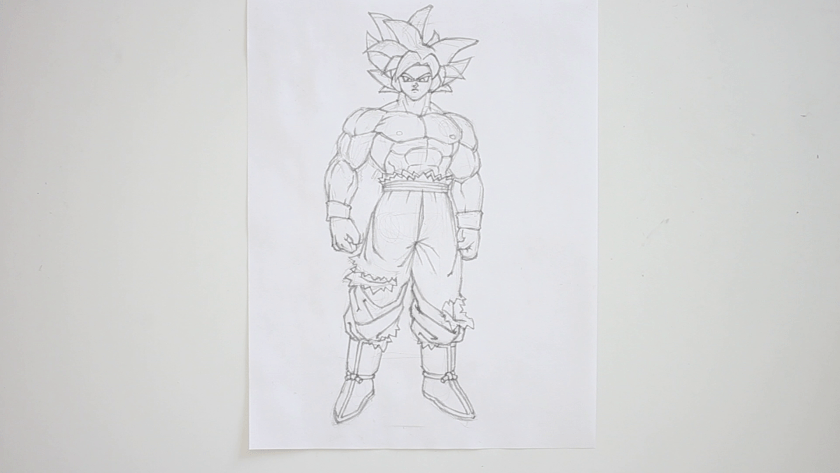 How to Draw Ultra Instinct Goku - Step 4 - Refined Pencil Drawing