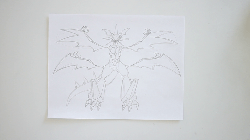 How to Draw Ultra Necrozma - Step 2 - Refined Pencil Drawing
