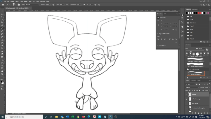 How to Draw Chihuahua - Step 2B - Refined Drawing