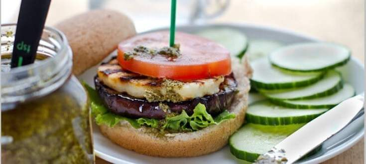 Grilled Eggplant, Halloumi, and Pesto Burgers