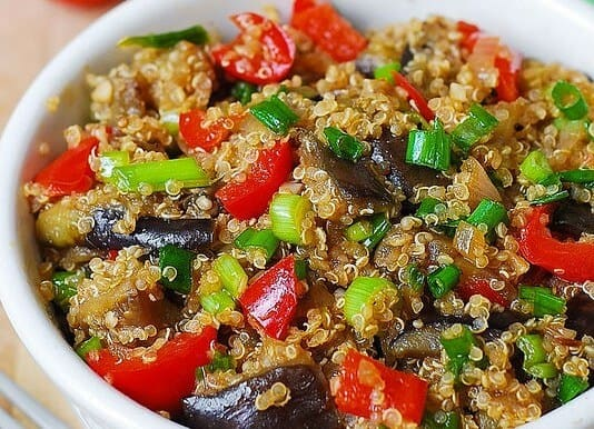 Spicy Asian Eggplant and Quinoa