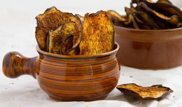 Crisp Eggplant Chips in bowl