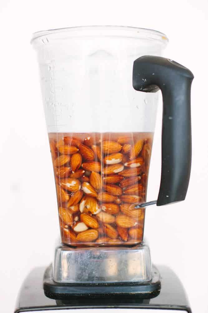 Almonds in blender - Dr. Axe