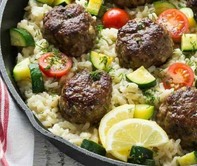 One-Pot Greek Meatballs with Lemon Dill Rice