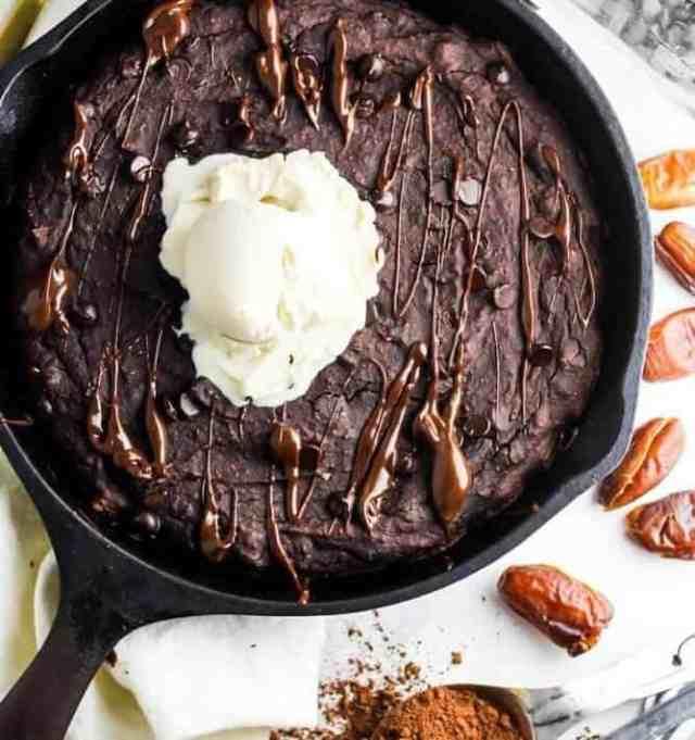 Vegan Skillet Brownies with Lentils