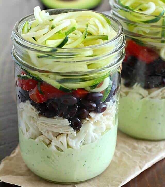 Southwest Zucchini Noodle Mason Jar Salad with Avocado Dressing