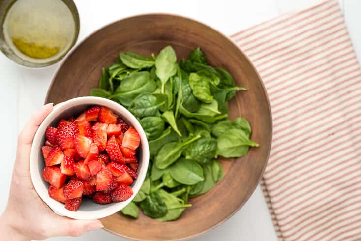 Strawberry spinach salad step 1 - Dr. Axe