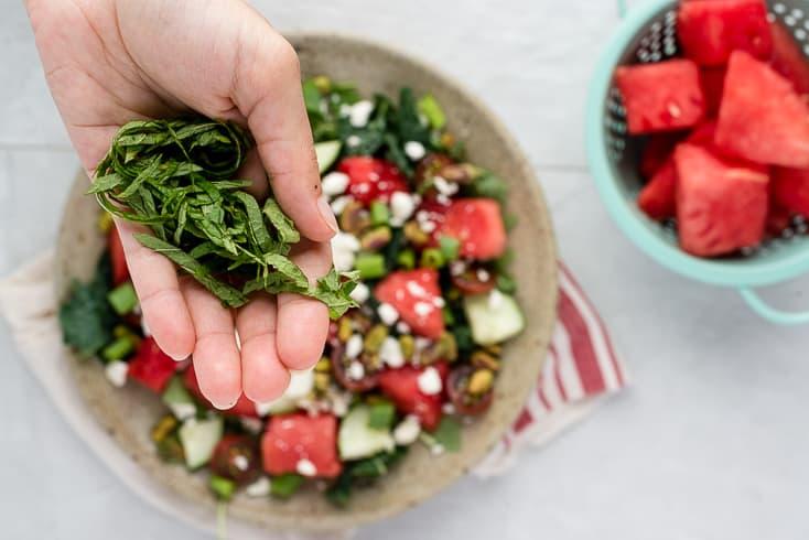 Watermelon feta salad step 3 - Dr. Axe