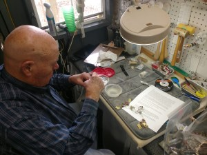 Pete, owner and jewelry artist, handcrafting Appalachian Cottage Jewelry
