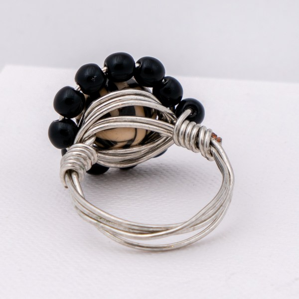 Onyx & Porcelain Ring