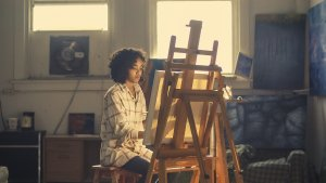Image of woman painting
