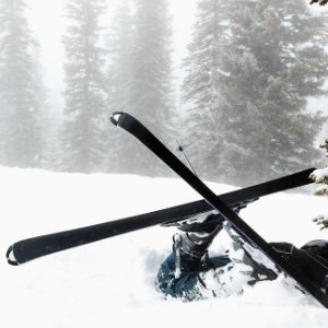 Image of skier upside down after crashing