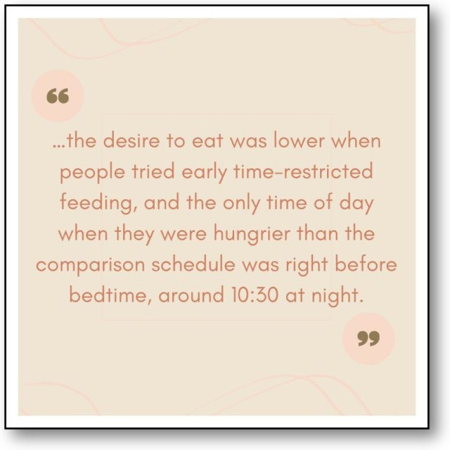 Early Time Restricted Eating and Hunger