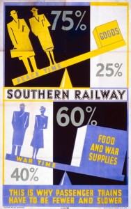 Poster produced for Southern Railway (SR) to explain to passengers that due to the war effort there would be fewer and slower trains. Artwork by Bossfield.