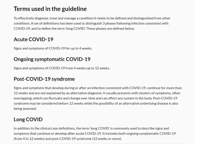 NICE definitions of acute, ongoing COVID-19 vs Post-COVID-19 syndrome (a post-viral syndrome) and long covid.