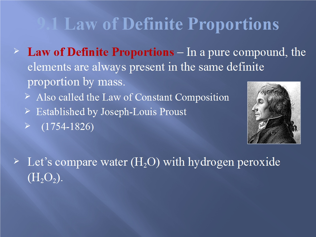 9 1 Law Of Definite Proportions