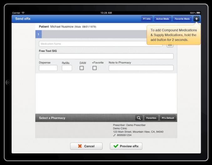 eRX screen shot from drchrono electronic health records iPad app