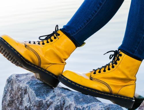 bright leather combat boots remain on trend for women's shoes