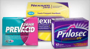 Picture of common heartburn meds like Prevacid, Nexium and Prilosec.