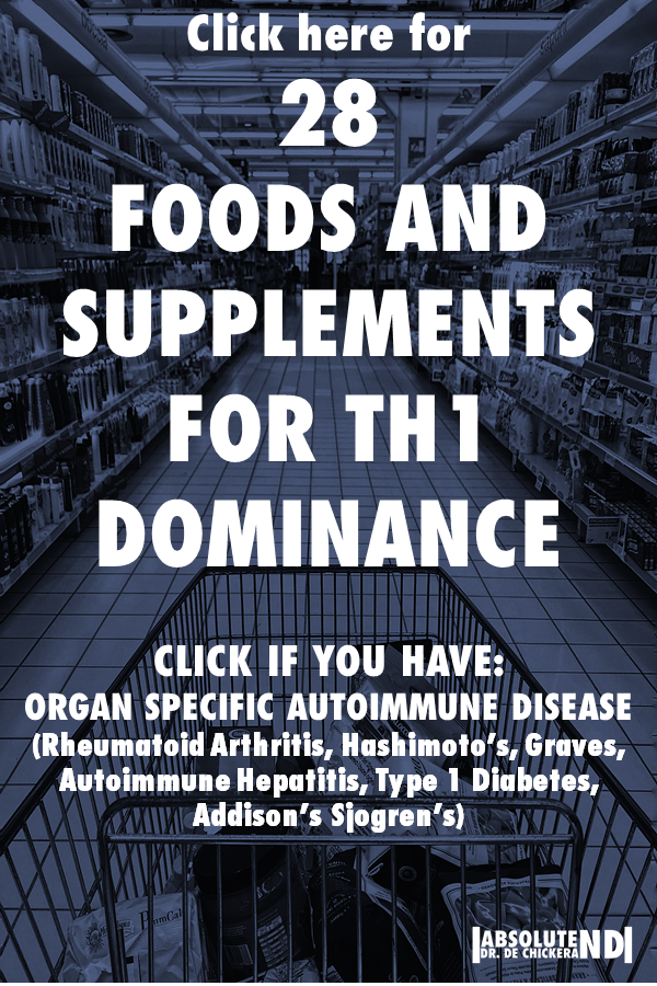 text overlay saying 28 foods and supplements for Th1 dominance
