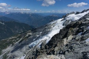 Freshly-exposed slabs in the Tantalus Range