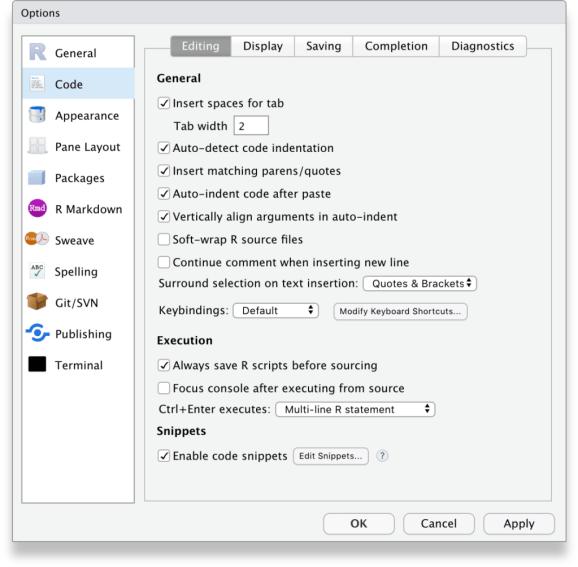RStudio Tools, Global options, Code, Editing tab