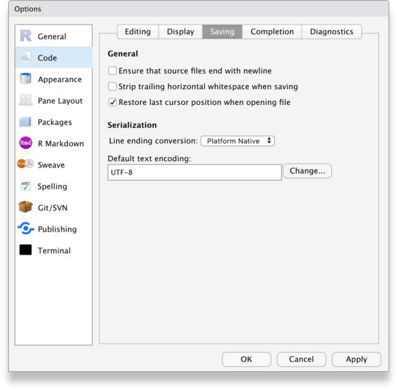 RStudio Tools, Global options, Code, Saving tab