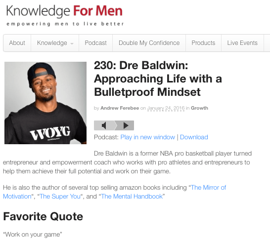 My Appearance on The Knowledge For Men Podcast
