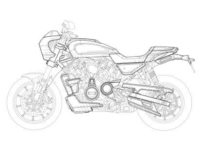 Die Fotos der Prototypen stammen aus einer Harley-Davidson-Investorenpräsentation, die Zeichnungen hat Harley beim europäischen Patentamt eingereicht