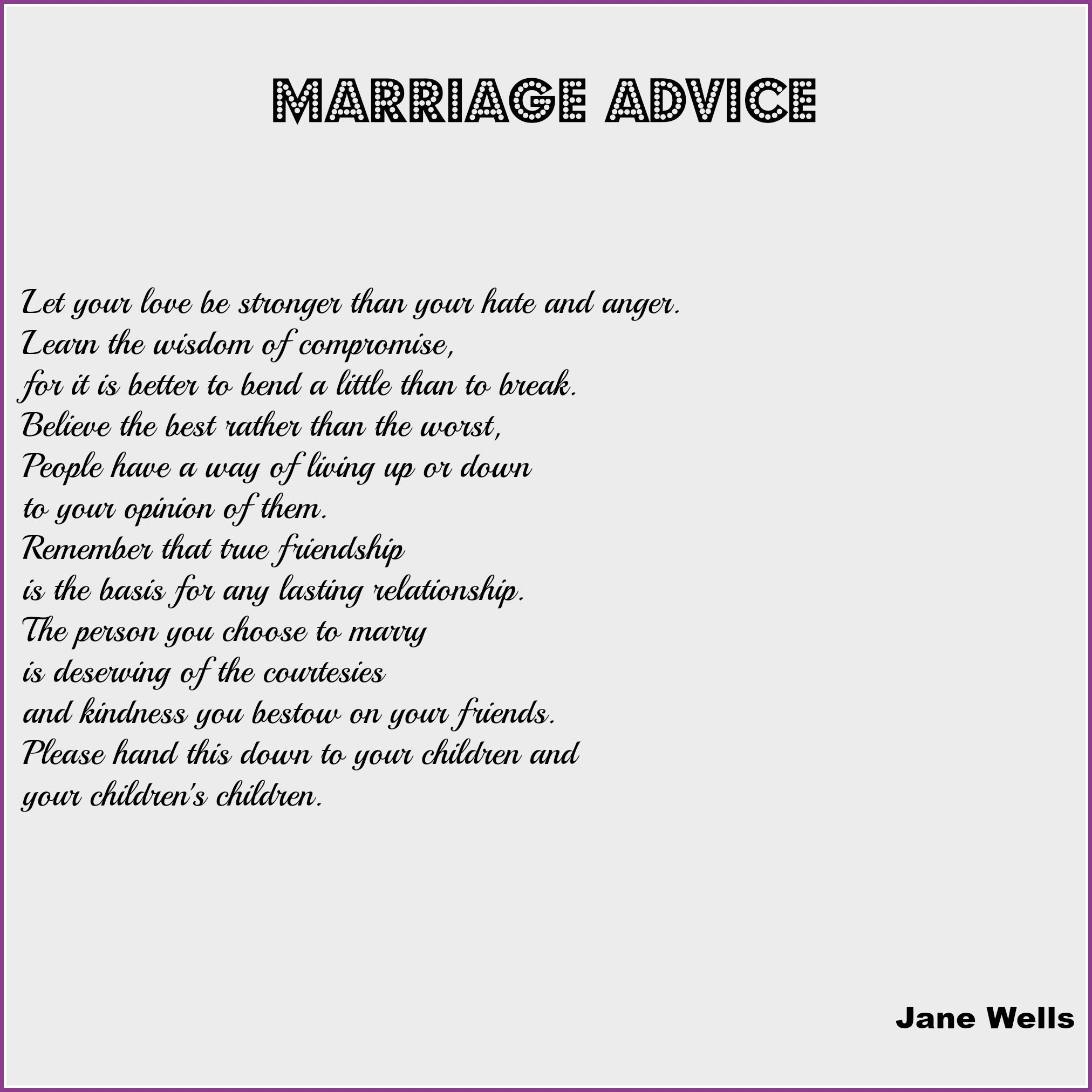 Wedding Reading Marriage Advice  Dream Occasions