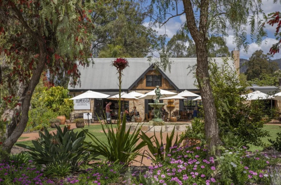 The scenic grounds of Enzo Cafe in Pokolbin.