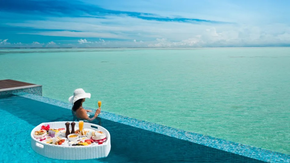 Pullman Maldives Maamutaa Resort has one of the world's best infinity pools in their private overwater villas.