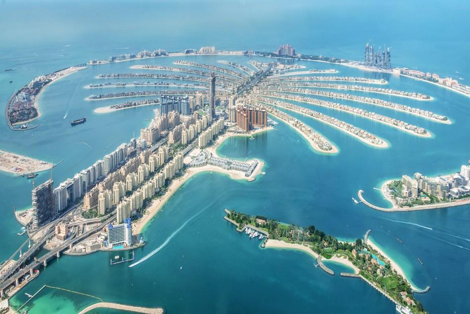 Ariel view of Palm Jumeirah Dubai, a man-man island that is in the shape of a Palm Tree.
