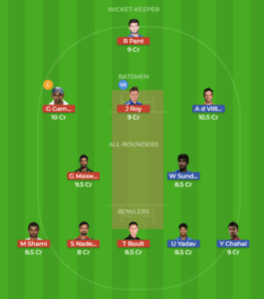 BLR vs DEL 19th Match Dream11 Team