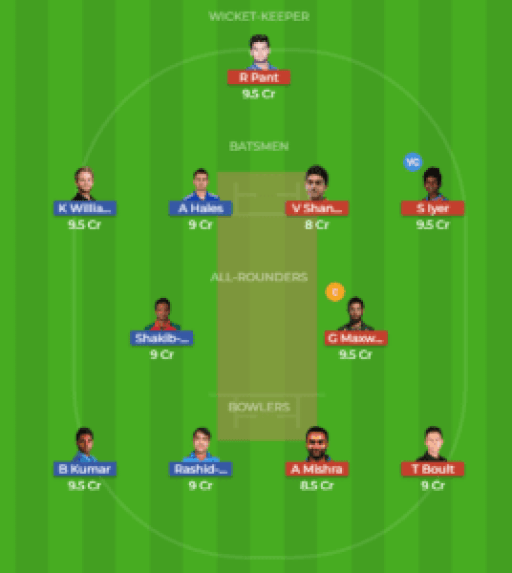 HYD vs DEL 36th Match Dream11 Team