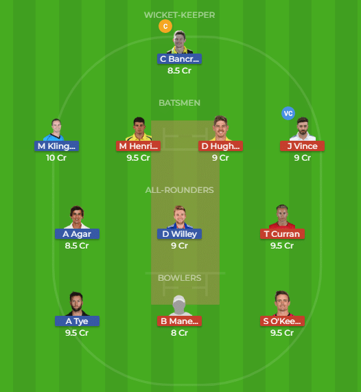 PS vs SDS Dream11 Team for the 30th match