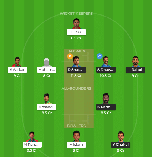 IND vs BAN Dream11 team, match prediction, team news, fantasy players of 2nd T20