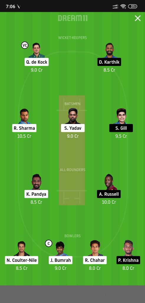 MI vs KKR Dream11