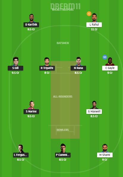 KKR vs KXIP Dream11