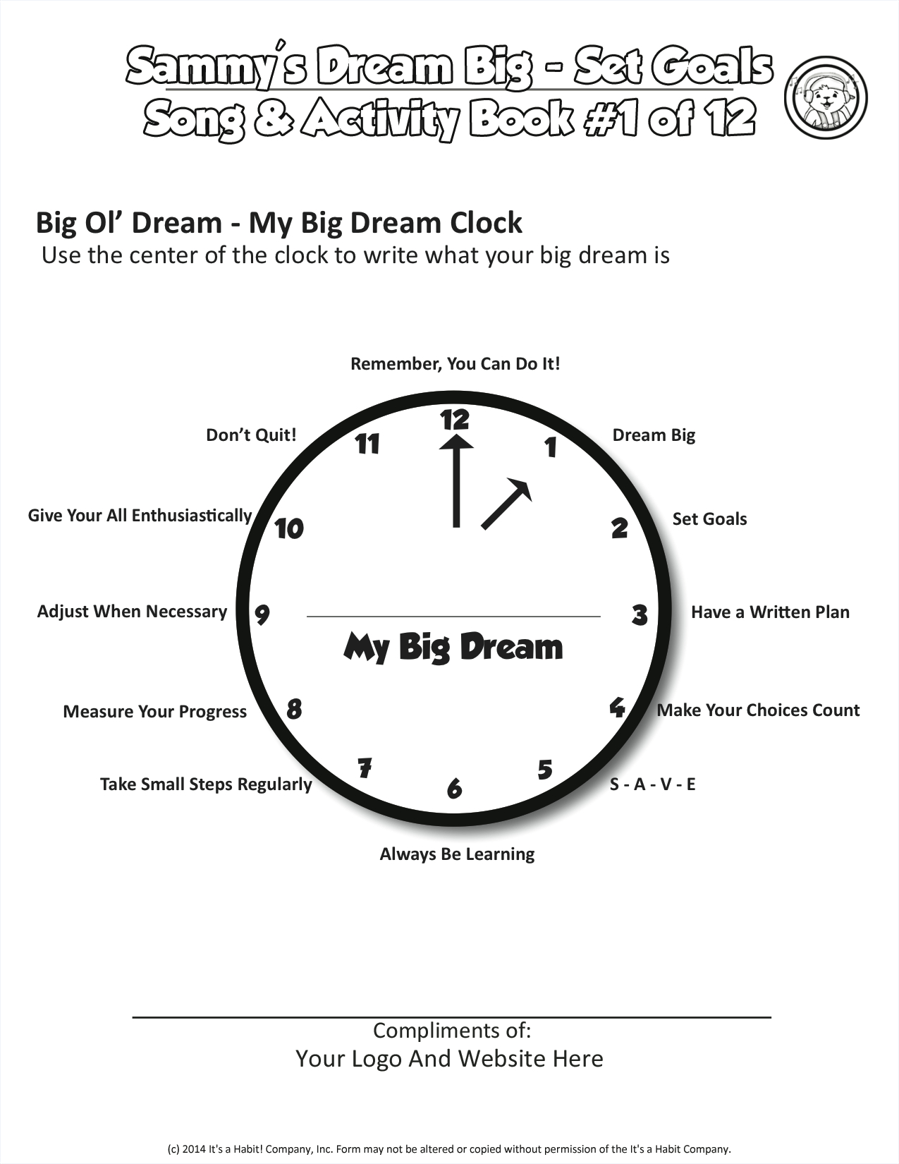 Dream Big Clock Free Activity Worksheet Dream Big Day